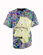 Real American Size  trippy bart joint 3D Sublimation Print Custom made Button up baseball jersey plus size