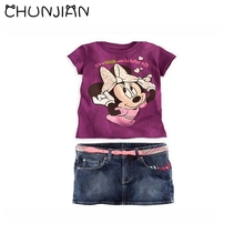 CHUNJIAN 2017 new baby cartoon suits girls Minnie dress children clothing sets girl short sleeve clothes kids summer skirt