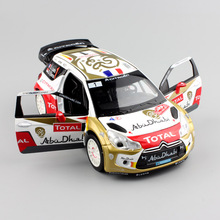1/26 scale children mini 2013 No.1 Loeb Citroen DS3 WRC rally pull back metal diecast sound light model race cars toys for kid