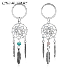 QIHE JEWELRY Gift Pink Black Beads Dreamcatcher Feather Wind Chimes Dream Catcher Key Chain Women Vintage Indian Style Keychain(China)