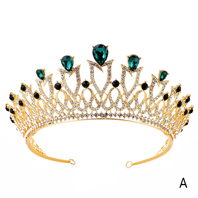 Luxury Crystal  Crown Tiaras Bridal Fashion Light Gold Diadem Tiaras For Women Bride Wedding Hair Accessories 5 Colors
