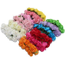 CCINEE 1.8cm Head Multicolor Mulberry Paper Flower Bouquet/wire stem/ Scrapbooking artificial rose flowers(144pcs/lot)