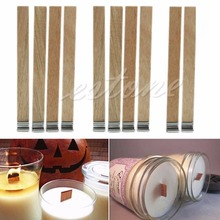 10Pcs 13mm x 130mm Candle Wood Wick with Sustainer Tab Candle Making Supply #C60EY# Drop Ship(China)