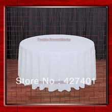 "Hot Sale  132"" R White Round Table Cloth Polyester Plain Table Cover for Wedding Events &Party Decoration(Supplier)"