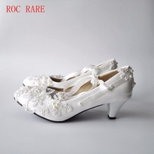 Big Size 34-43 White Lace Women Wedding Shoes Custom Heels High Quality Ribbon Lace UP Bridal Shoes