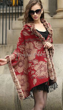 FASHION /100% Mulberry silk 100% Real Rex Rabbit Fur Plaid Shawl /cloak/ Poncho /Coat/ Cape/Wraps/red