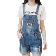 Big Pocket Denim Overalls for Women Rompers with Hole Ripped Jean Shorts Bodysuit Cross Strap Laides Playsuits NS3247