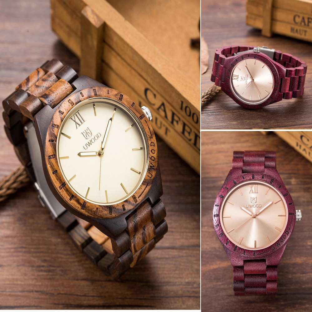 2017 Newest UWOOD Man Wooden Watch New Year Gift Bangle Quartz Watch Role Men Relogio Masculino Fashion Casual Wooden Watches<br>