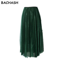 BACHASH Brand New Fashion 2017 Ladies Gray Color 3 Layer Pleated Skirt Long Tulle Skirts Straight Grey Solid Mesh Skater Skirt