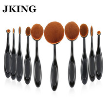 Sexy NEW 10Pcs JKING Cosmetic Oval Toothbrush Blush Powder Foundation Beauty Eyeshadow Makeup Brushes Set High Quality Recommend