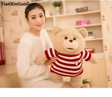 stuffed toy stripes cloth ted bear large 55cm plush toy hug bear soft doll throw pillow Christmas gift h2049(China)