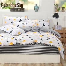 4pcs Geometric Polyester+Cotton Bedding Set Duvet Cover Set Bed Cover Fitted Sheet Set Queen King White Triangle