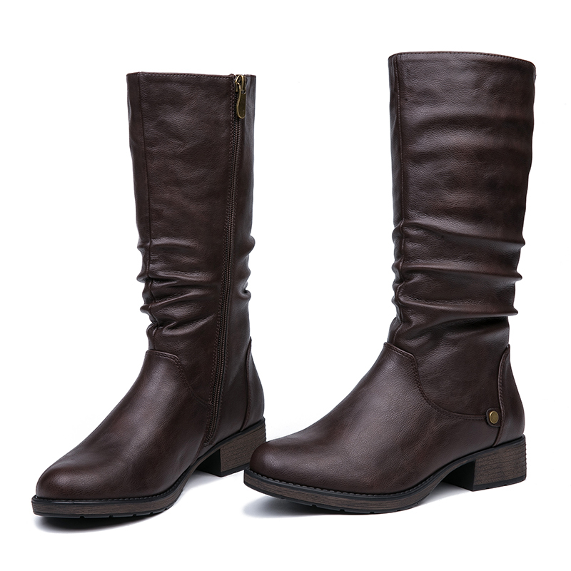 IMG_5615AIMEIGAO New Autumn Winter Mid-calf Women Boots Flats Heels Warm Plush PU Leather Boots High Quality Knee High Boots