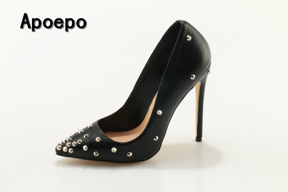 Apoepo Brand Black leather rivets studded high heel shoes sexy woman pumps 2018 slip-on stiletto heels super high dress shoes <br>