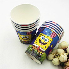 10pcs SpongeBob Cup Cartoon Theme Party For Children/Girls Happy Birthday Decoration Theme Party Suppl