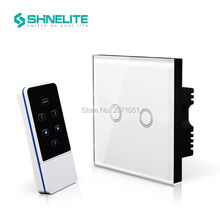 Shinelite UK Model home electronic touch wireless light switch with remote control,touch glass panel 2 gang 1 way,RF 433Mhz
