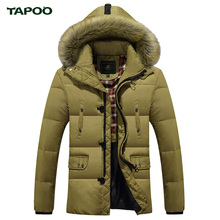TAPOO Winter Down Coats With Fur Hood Men's Clothing Casual Jackets Thickening Parkas Male Coat Thick Warm Long Overcoat
