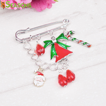 "8SEASONS ""X'Mas"" Brooch Pins Chain Santa Claus Charm Pendants Christmas Bell Gift Sugar Stick Drop Men Women Jewelry Year Trend"