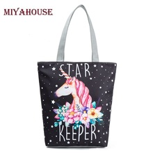 Miyahouse Unique Design Women Canvas Tote Cute Unicorn Print Beach Bag Large Capacity Female Shoulder Shopping Bag High Quality(China)