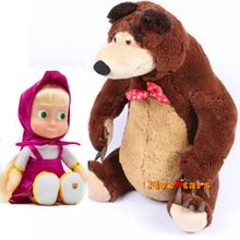 Set of 2 Talking Masha and Bear Speaks Italian Russian Music Cartoon Anime Figures Dolls For Girls Birthday Gifts Masa Plush Toy