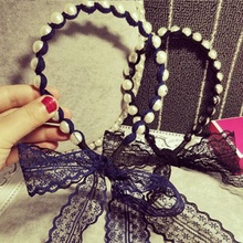 Fashion Women Girls Bow Knot Casual Elastic Twisted Lace Pearl Head Hair Band Holder Tail Bowknot Headband Headwear Accessories