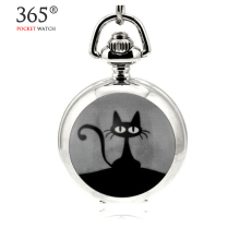 2016 Fashion Design Quartz 3.5cm Mini Cat Pendant Enamel White Steel Mirrored Pendant Necklace Pocket Watch
