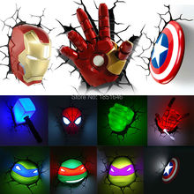 Ironman Spiderman Captain America 3D Wall Lamp Amazing Baby Room light Decoration Night Light Lampada deparede Table Light