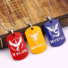New Pokemon Go Dog Tag Necklace Game Anime Metal Team Valor Mystic Instinct Logo Women and Men Pendant Necklace Jewelry NXH2012