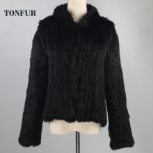 New Genuine Rabbit Fur Coat Fashion Women knit Rabbit Fur Jacket Winter Warm Rabbit Fur Outwear DFP773