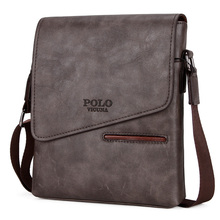 Men's Black Vintage Messenger Bags Leather Satchel POLO Cover Shoulder Bag Boy's Travel Handbag Business Crossbody Bag(China)