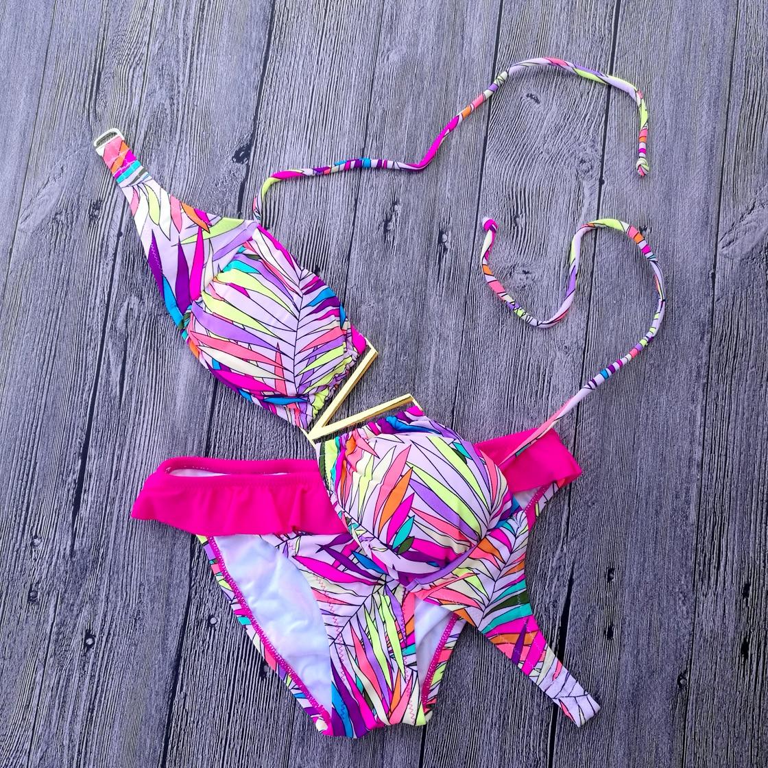 Pink Flower Print Bikini Set Red Swimwear Women Swimsuit 2017 Biquini Bathing Suit Designs Secret maillot de bain<br><br>Aliexpress