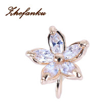 Freeshipping 1PC Women's Fashion Cz Crystal Flower U Shape Ear Cuff Clip-on No Piercing Earring High Quality(China)