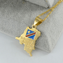 Anniyo Democratic Republic of the Congo Map Small Pendant Necklace Gold Color DRC Jewelry for Women Girl#000811