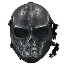 High Quality Army Paintball Skull BB Gun Game Full Face Protect Mask Guard Black