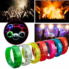 Sound Activated Voice control LED Bracelet Glow Flashing Blinking Wristband Party Supplies