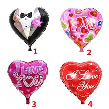 18inch Heart Foil Balloon Romantic Mylar Balloons With Printed I LOVE YOU For Valentin'S Day Engagement Wedding Party Decoration(China)