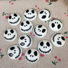 10Pieces Flat Back Resin Cabochon Skeleton For Halloween DIY Flatback Embellishment Accessories Scrapbooking Crafts:25mm(China)