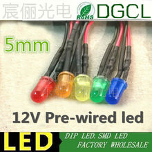100PCS DC12V/24V Pre Wired led Diffused Red/Green/Blue/Yellow/White 5mm round led 20mm DIP LED indicator pre-wired light diode(China)
