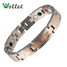 Wollet Rose Gold Color Jewelry Tourmaline Magnets Negative Ion Infrared Germanium Women Men Titanium Bracelet High Quality 20Cm