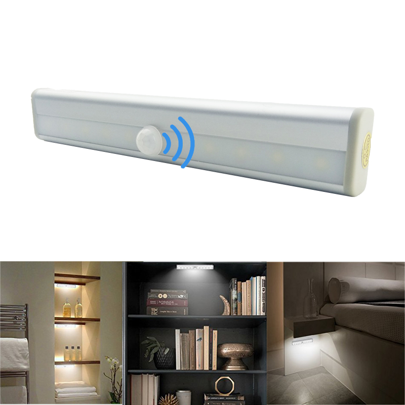 LED Under Cabinet Light PIR Motion Sensor Lamp 6/10 LEDs 98/190mm Closet Lamp for Wardrobe Cupboard Armario Kitchen Night light