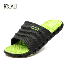 polali 2017 New Summer Cool Water Flip Flops Men High quality Soft Massage Beach Slippers,Fashion Man Casual Shoes
