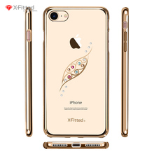 Graceful Leaf Luxury Diamond Case for Iphone 6 6s 6s Plus 7 7 Plus Electroplated PC Case with Crystal From Swarovski Rhinestone