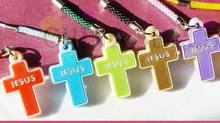 2pcs Christian Cross phone chain bag pendant cross JESUS Sunday school advertising(China)