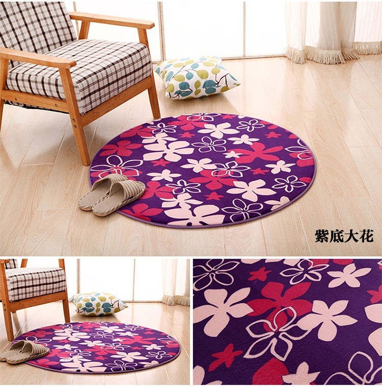 Purple Flowers Carpet Home Decor Round Doormat