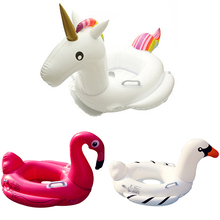 Child Swimming Ring Inflatable Flamingo/Unicorn/Big White Goose Seat Pool Inflatable Toys Summer Water Toy Kids Swimming Float