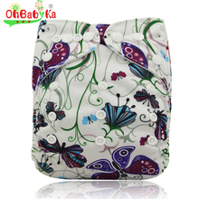 Ohbabyka Couche Lavable Print Pattern Cloth Diaper Reusable Baby Diaper Bamboo Velour Fitted Washable Diapers Baby Nappy Cover(China)