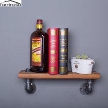 Famirosa Wall Hanging OneTier Iron Pipe Book Shelf Retro Art Display Shelves Bookcase Decorative Bookshelf For Living Room(China)