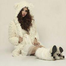 Women Girls Winter Warm Woolen Bear Ear Hoodie Lambs Stylish Solid Outerwear Jacket Coat