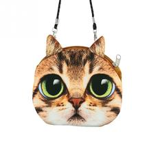 2016 Fashion Retro Cartoon 3D Printing Animal Shoulder Bags Cat Face Pouch Women Handbag for Girls Coin Purse Clutch Bag