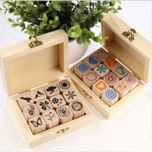 12pcs/lot (1 box) DIY Cute Wooden Box Stamp set for Diary Decoration Photo Album Scrapbooking Free shipping 650(China)